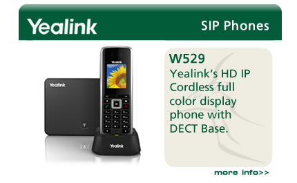 Yealink's HD IP Cordless full color display phone with DECT Base.